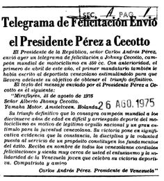 Telegrama de felicitación envió el presidente Pérez a Cecotto. Publicado el 26 de agosto de 1975