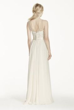 Leave your guests speechless in this stunningly romantic chiffon gown!  Sash not included.  Sample Sale dresses are only available online (not available in stores).  Sample Sale dresses contain imperfections such as tears in the lining or tulle, or imperfect seams in the skirt, etc.  Specific imperfections are not visible in the photograph shown which is representative of the style and design, not the individual dress that will be shipped.  Sample Sale product cannot be returned in our…