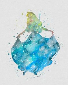 Princess Aurora 2 Sleeping Beauty Watercolor Art - VividEditions: