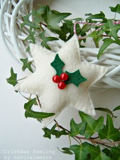 white felt star with holly