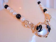 1980s Enamel Rhinestone Lucite & Pearl Necklace by joysshop, $14.95