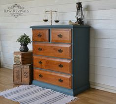 Fusion Mineral Paint 'Homestead Blue'. Hand painted chest of drawers, rustic modern. www.rawrevivals.com.au