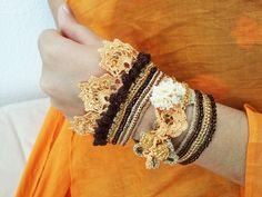 Bracelet boho, crochet cuff, oversized beaded bracelet, yellow brown lace cuff jewelry, cotton thread with crocheted roses and sand beads