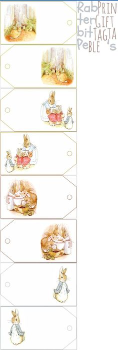 8 tags with images from The Tale of Peter Rabbit, digital collage sheets for paper crafts, Beatrix Potter, Peter Rabbit Birthday, Peter Rabbit Party, Easter Printables, Free Printables, Coelho Peter, Peter Rabbit And Friends, Gift Tags Printable, Easter Crafts