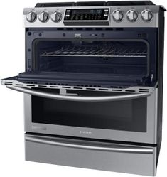 Samsung NY58J9850WS 30 Inch Slide-in Dual Fuel Range with 5 Sealed Burners, 5.8 cu. ft. Flex Duo True Convection Oven, 22,000-BTU True Dual Brass Burner, Dual Oven Door, Star-K Certified Sabbath Mode, Warming Drawer and SteamQuick Self-Clean