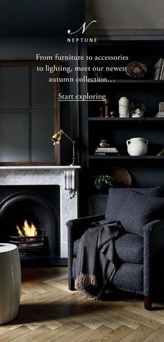 This season, make your kind of statement with our newest collection of designs for your whole home Living Room With Fireplace, Living Room Grey, Interior Design Living Room, Living Room Designs, Living Room Decor, Interior Livingroom, Black Interior Design, Flat Interior, Blue Lounge