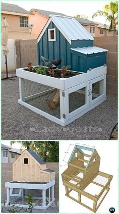 DIY Small Chicken Coop with Planter Free Plan & Instructions - DIY Wood Chicken Coop Free Plans #chickencoopplanseasy