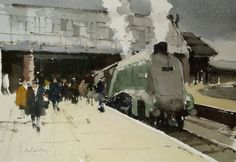 'Bittern' an by John Yardley at Bourne Gallery - Stock Details Watercolor Landscape, Watercolor And Ink, Watercolour Painting, Watercolours, Berlin Art, Railway Posters, Chula, Subway Art, Bike Art