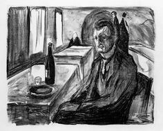 Cat.no. 712, MM G 492  Self-Portrait with a Bottle of Wine  1930    420 x 515 mm  Lithograph  Lithographic crayon    Printed by Nielsen  Printed in black ink