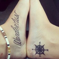 Compass Tattoos designs on foot.