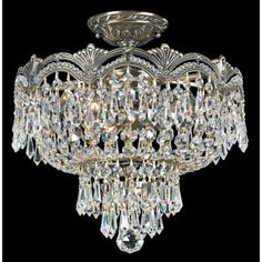"Crystorama Majestic Brass 14"" Wide Ceiling Light -"