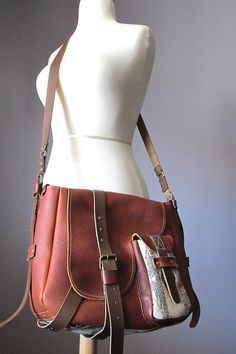 ON HOLD Leather messenger bag with pure wool by VitalTemptation 2091ac9f01