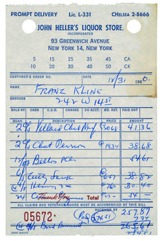 Franz Kline's list