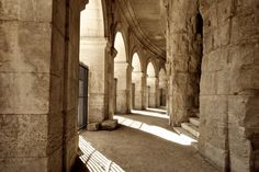 In the colonade of the colosseum of Arles, Southern France