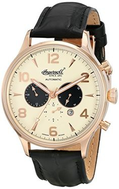 Men's Wrist Watches - Ingersoll Mens IN1309RCR Golden Age Analog Display Automatic Self Wind Black Watch >>> You can find more details by visiting the image link.