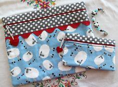 Limited Edition Custom Sheep Cross Stitch Bag, Side Kick Bag, Scissor Fob Gift Set