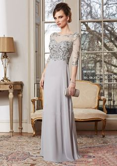 Find More Mother of the Bride Dresses Information about Hot Sale High Quality Chiffon Natural Mother Of The Bride Hot Sales O neck Half Sleeve A line Evening Dresses With Beading,High Quality mothers mother,China brides mother Suppliers, Cheap dress mother from BLACK DIAMOND BRIDAL DRESS FACTORY on Aliexpress.com