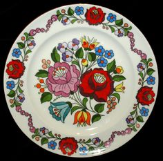 Hand Painted Hungarian Kalocsa Floral Kalocsa by TheMightyCat Hungarian Embroidery, Plates On Wall, Retro, Folk Art, Arts And Crafts, Porcelain, Pottery, Hand Painted, Ceramics