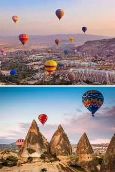 "*TURKEY ~ This region of Eastern Europe is known for its history and interesting geography.  Awesome buildings are carved out of the rock formations and are called ""fairy chimneys."" The area is also famous for hot-air ballooning, though I have no idea why."