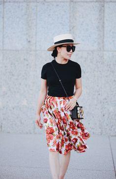Summer Lady Like, EMILIA WICKSTEAD Polly floral-print A-line skirt, Prada Bow Flats, Dolce & Gabbana Jeweled Box Bag, CK Tee, Boater Hat, via: HallieDaily