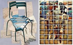 This photography collage of a chair by David Hockney shows how several viewpoints can be combined within the one photo montage to create an image that is intriguing and cohesive, despite the distorted perspective.