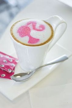 Barbie Coffee - just because it's pink and pretty! I Love Coffee, Coffee Art, Coffee Break, My Coffee, Coffee Shop, Sweet Coffee, Drink Coffee, Latte Art, Everything Pink