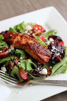 Thanks to @janemaynard   Recipe for Grilled Brown Sugar Bourbon Salmon Pecan Salad from @janemaynard