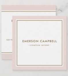 Shop Elegant blush pink border minimal professional square business card created by TheStationeryShop.