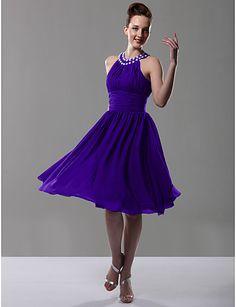 Bridesmaid Dress Knee Length Chiffon A Line Jewel Party Dress - USD $ 69.99
