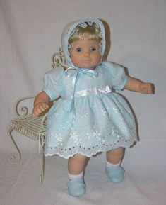 Picture Day- Bitty Baby dress with bonnet, pillow and blanket Picture Day Bitty Baby dress with bonnet pillow by cupcakecutiepie. 12 Inch Doll Clothes, Crochet Doll Clothes, Baby Clothes Patterns, Dress Patterns, Costume Patterns, Mccalls Patterns, Bitty Baby Clothes, Baby Boy Dress, Baby Pillows