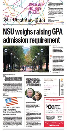 The Virginian-Pilot's front page for Thursday, Nov. 14, 2013.