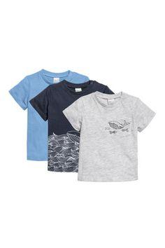 3-pack cotton T-shirts - Blue/Grey - Kids | H&M 1
