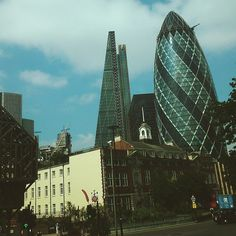 The 'Gherkin' and the 'Cheese Grater' in the City. #gherkin #cheesegrater #architecture #travel #london