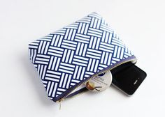 Makeup Bag Navy Cosmetic Case Small Makeup Bag by StuffSheSews
