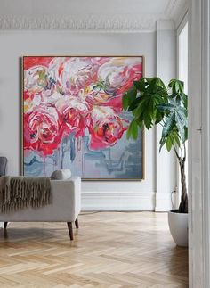CZ Art Design - Abstract Flower Oil Painting, large abstract floral art, red rose art, textured painting @CelineZiangArt #OilPaintingRed