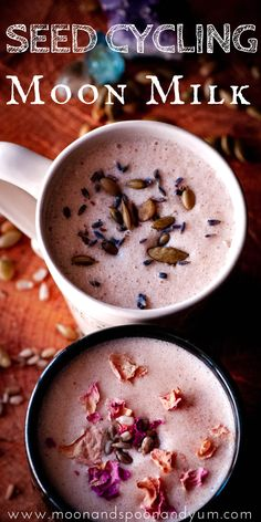 These vegan moon milk recipes make a perfectly healthy, easy & delicious way to balance your hormones with the use of seed cycling for horm. Protein Smoothie Recipes, Breakfast Smoothie Recipes, Healthy Breakfast Smoothies, Healthy Protein, Eat Breakfast, Breakfast Casserole, Healthy Milk, Milk Recipes, Fruit Recipes