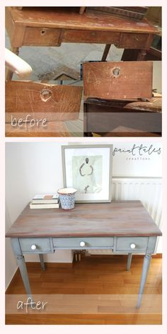 Paint Tales - Driftwood finish desk An old desk totally refurbished and turned into a real beauty with milk paint.
