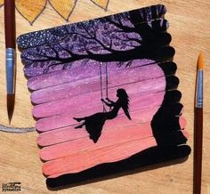 The most fun thing about my childhood was swing. So this painting is quite relatable. Hope that you all are having a wonderful day. What does my amazing friends think about this painting ? Popsicle Stick Art, Popsicle Stick Crafts, Craft Stick Crafts, Ice Cream Stick Craft, Ice Cream Sticks, Diy Crafts, Creative Artwork, Diy Art, Cool Art