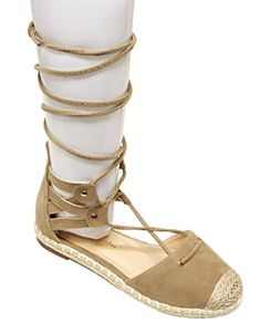 Chase  Chloe Nicki2 Womens espadrille cap dorsay gilly tie wrap flat sandals Taupe 6 * To view further for this item, visit the image link.