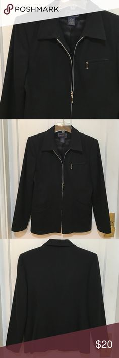 Laura Scott Wool Jacket 100% Wool and the lining is 100% acetate. 3 front pockets, a heavy and durable zip, has been worn but in super shape! Size 6 Laura Scott Jackets & Coats Blazers