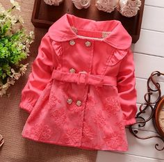 NEW Spring Autumn Girls Double Breasted Cardigan Infant baby kids Lace Coat Children Outwear Coats Belt Trench Baby Outfits, Kids Outfits Girls, Girls Winter Coats, Kids Coats, Korean Outfits, Kind Mode, Kids Fashion, Fashion Coat, Autumn Fashion