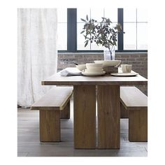 Dakota Dining Table from crate and barrell. Oh me. I'd love this. A little more narrow please. But $2600 for straight slabs of wood?  I need me a saw mill and some mad woodworking skills.