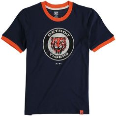 Detroit Tigers Majestic Youth Baseball Stripes Cooperstown Collection Ringer T-Shirt - Navy - $24.99