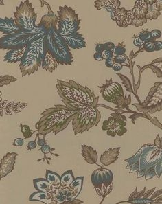 Pierre Deux Jacobean in Blue and Brown Wallpaper French Wallpaper, Toile Wallpaper, Brown Wallpaper, Wallpaper Backgrounds, French Country Collections, French Country Interiors, Victorian Kitchen, Brown Aesthetic, Brown Interior