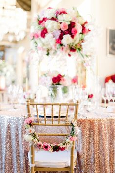 What a great color combo! Recreate with our Gold Chiavari Chairs and Blush Glitz Sequins Linens. Visit www.mtbeventrentals.com to see our products! Or call 844-815-8620 for more information. www,instagram.com/mtbeventrentals
