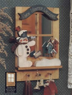 Albumarchiv Christmas Wood Crafts, Handmade Christmas, Holiday Crafts, Christmas Decorations, Book Crafts, Diy And Crafts, Pintura Country, Woodworking Enthusiasts, Country Paintings