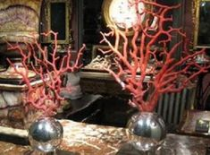 Coral And Gray Wedding Ideas | Coral style centerpieces: can be made by spray painting Manzanita ...