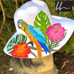 Hand painted tropical hibiscus and bird white ribbon hat. Sun   Etsyoutfit hat hat outfit cute caps cute hats cute hat outfits hat fall hat cute summer hats hat fashion hair hats hat ideas hat summer cute hats baseball decorating hats cute hats for summer hat style hats and scarfs summer hats fashion hats