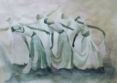 Dancing nymphs watercolor painting dreamy dancer by BalticNymph