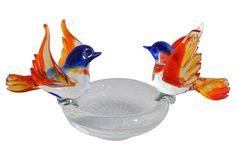 Murano Glass Bowl w/ Birds